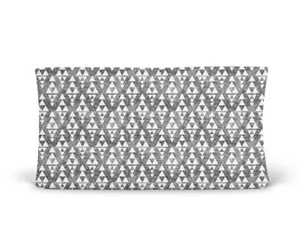 Changing Pad Cover Grey Faded Triangles Stacked - Grey Changing Pad Cover- Triangle Changing Pad- Aztec Changing Pad- Minky Cover- Organic