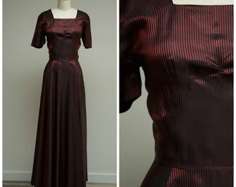 Vintage 1940s Dress • Sweet Adelia • Red Black Striped Taffeta 40s Evening Dress with Sweeping Skirt Size Small