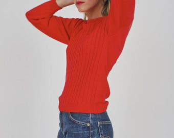 Vintage Cotton Tomato Red Jumper