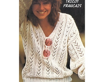 PDF Telecharger French Language Knitting Pattern Modele Patron Tricot  Francais Cotton Ajoure Pull Femme 1 Size 79575a44deaa