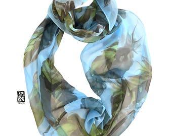 Feather Print Scarf, Spring Loop Scarf, Blue Feather Scarf, Brown, Blue Infinity Scarf, Silk Scarf Handpainted, Takuyo, 11x60 inch