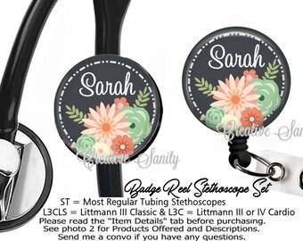 Nurse Badge ID Set, Personalized Flowers Etc, Stethoscope ID Tag and Badge Reel Combo Set, READ Listing Carefully