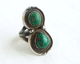 Green Turquoise Ring Size 4 .5 Southwestern Double Stone Jewelry Vintage Sterling Silver Chunky Jewelry