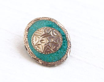 Aztec Mayan Sun Brooch Pin Vintage Mexican Turquoise and Sterling Silver Jewelry Oval Lapel Pin