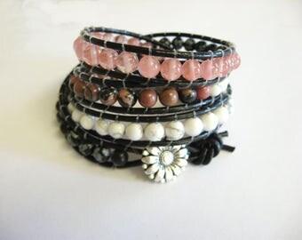 Gemstone Wrap Bracelet, Quadruple Wrap Bracelet, Rhodonite Bracelet, Rose Quartz Bracelet, Obsidian Bracelet, Wrap, Boho Bracelet