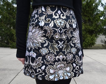 Metallic A-lined Brocade Floral Skirt: S, M, L