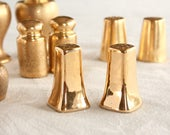 One pair, Gold salt and pepper shakers, all over gold, , lusterware, vintage salt and pepper, gold porcelain