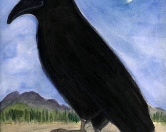 "Raven Art Print (6x8) Bird Illustration, Nature Art print, Black Bird Portrait, ""The Raven and the Moon"""