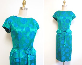 Vintage 1960s Party Dress | Emerald Green Blue Rose Print Early 1960s 1950s Party Dress | size medium