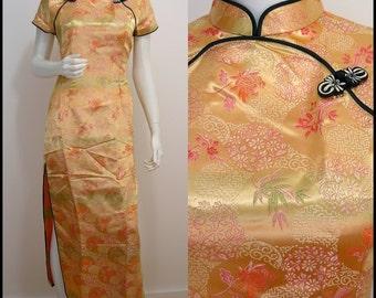 Chic VINTAGE Exotic Asian Peach Orange Oriental Silk Dress UK 10 EU 40 / Made in  Vietnam
