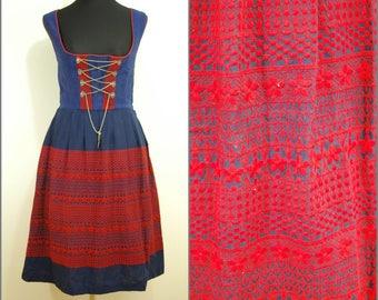 VINTAGE Bohemian Dirndl Blue Red Embroidered National Dress 10 38 German/ Austrian/ Folk / Oktoberfest