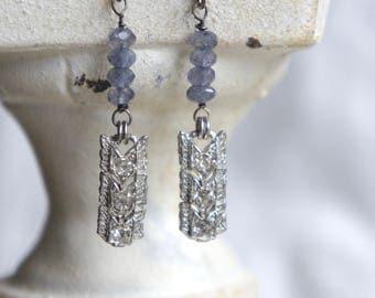 Chevron earrings vintage rhinestone dangle earrings blue gemstone earrings assemblage jewelry F602-by French Feather Designs.