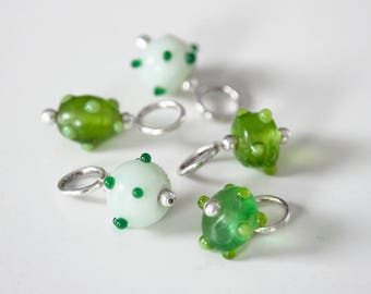 Snag Free Stitch Markers Fancy Bobble Mix in Lime & Pale Mint Green, Set of 5, Snagless