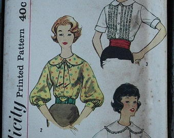 Simplicity 3074 60s 1960s Blouse 3/4 Bishop Sleeves and Round Collar Vintage Sewing Pattern Size 14 Bust 34