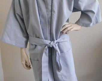 Vintage Men's Robe Blue Gray by Kimono Robe One Size