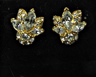Vintage SPARKLY RHINESTONE EARRINGS Monet Pierced Jewelry Bride Gift