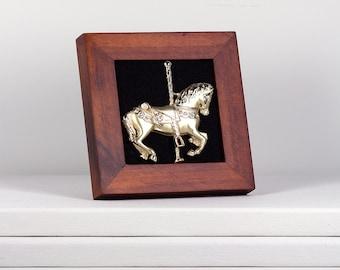 Framed Gold Carousel Horse Brooch in Brown Wood Frame Modern Vintage Home Decor