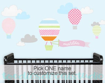 Hot Air Balloon Wall Decal, Personalized Girls Fabric wall sticker, Balloon Ride Wall Art, Up Up and Away Nursery decor