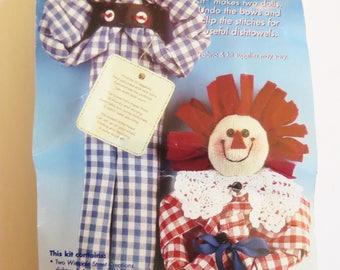 Dishtowel Rag Doll Kit, Andrew & Annabelle Pullapart Kit, Wimpole Street Creations, 2 Dish towel Rag Dolls, Shower Gift, Housewarming Gift