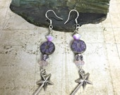 Fairy Wand Earrings - Fairy Jewelry, Magical Jewelry, Purple Earrings, Wand Charms, Fairies, Magic Wand, Fairy Earrings, Fae, Purple Fairy