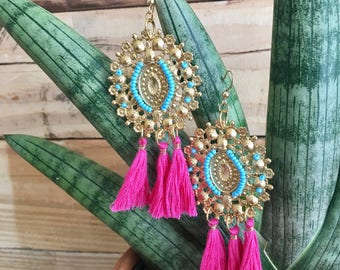 Vintage long  Earrings with Turquoise Beads and Fuchsia Tassels