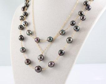 Convertible Tahitian pearl set, short, long necklace, doubled, versatile, earrings, pendant, saltwater, black pearls: Simply Adorned