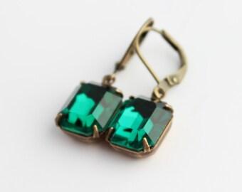 Swarovski Emerald earrings, Emerald Swarovski earrings, Emerald earring, Emerald green earrings, Emerald earring, emerald drop earrings,