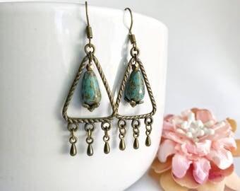 Triangle hoop earrings, bead earrings, dangle chandelier earrings, bohemian earrings, boho chic, bronze deop charms, turquoise glass