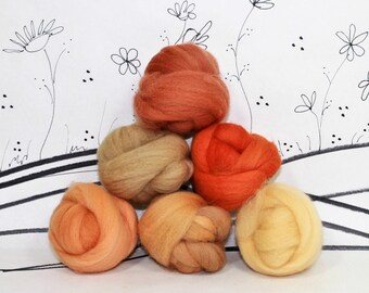 Wooly Buns roving, fiber sampler, rust and gold wool roving assortment, needle felting supplies in Fox, 1.5 oz, collection, rust wool colors