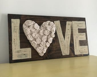 Reclaimed wood sign, love sign, wedding welcome sign, wedding gift, bridal shower gift, bride to groom gift, flower sign, rustic sign boho