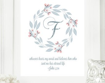 "Instant Monogram Scripture Wall Art Print 8x10 Typography Letter ""F"" Printable Home Decor"