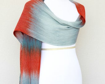Bridesmaids gift, bridesmaids shawl, ombre scarf, woven scarf, pashmina scarf in grey, red and teal colors with fringe