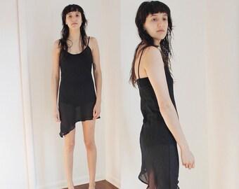 Vintage Black Sheer See Through Spaghetti Asymmetrical Dress S/M