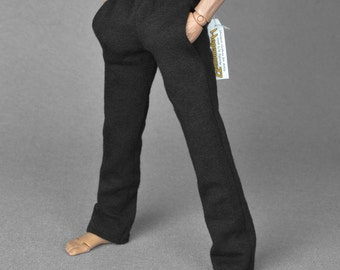 1/6th scale black sweatpants / tracksuit bottoms for male action figures