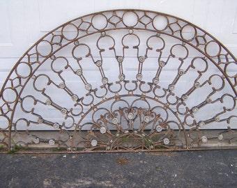 ashley,antique ornate transom iron window, antique iron half circle,sash transom window,exquisite workmanship,mediterranean transom window