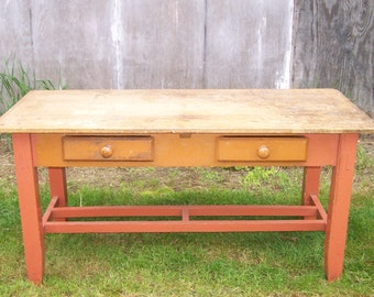 antique rustic farm tableturn century country tablered farm tablekitchen table - Primitive Kitchen Tables