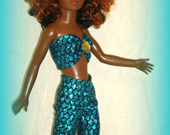 Handmade Doll Clothes for 19 Inch Vintage Ideal Tiffany Taylor, Blue Metallic Mermaid Scale, Bandeau Top and Shorts, by traveller240