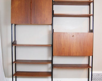 SALE: Mid Century Modern Two Bay Self-Standing Walnut Wall Unit System
