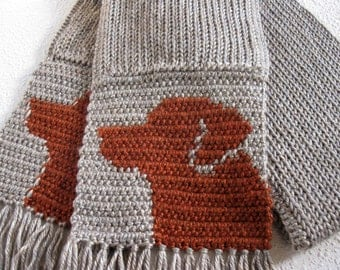 Red Labrador Retriever Scarf. Neutral color, knit scarf with red fox Labradors. Scarves with dogs