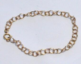 SALE Vintage 14k Charm Bracelet Start Triple Link Bracelet