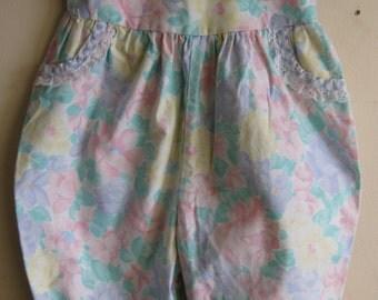 1990s Romper 18 Months Pastel Floral 100% Cotton w/ Pockets