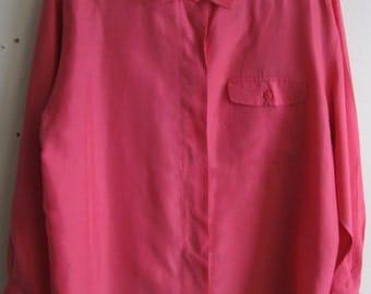 100% Silk Blouse 1980s Pink! Sz 12 Button Down Large