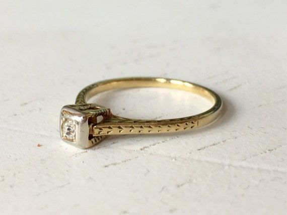 Old Mine Cut Diamond Engagement Ring - Diamond Solitaire Ring - 14k White and Yellow Gold Ring
