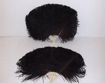 Vintage 1920s rare matching real black ostrich feather hand fan fans burlesque flapper X2