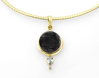 Black Druzy Psilomelane, Aquamarine and Diamond Pendant in 14K Gold Fine Handmade Jewelry Sparkling Druzy and Aquamarine Art Deco Necklace