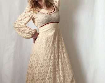 1970s Candie Jones Cream Lace Maxi Prairie Dress in Gunne Sax Style