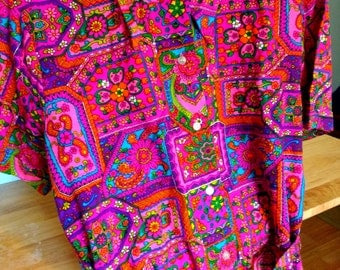 Crazy Psychedelic Women's Ladies Shirt And Belt Mandala Blouse Miss Holly 1960's 1970's Size 40 Medium