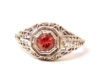 Art Deco Red Garnet Filigree Ring in 18k White Gold, Engagement, Solitaire