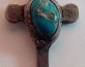Folk Art Cross Sterling Silver Turquoise Stone 1954-1974 Memorial