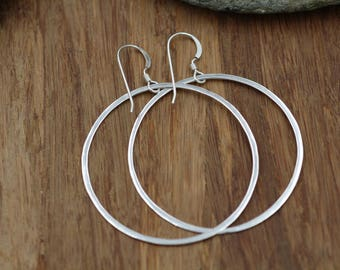Silver Hoops - Simple Hoop Earrings - Hammered Hoop Earrings - Circle Earrings - Dangle Hoop Earrings